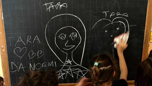 My wonderful campers in Italy having some fun at the chalkboard.