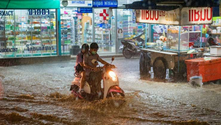 Heavy flooding isn't the only danger when motorbiking!