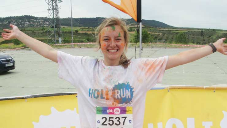 The 5k Holi Run in Madrid was so much fun! I ran with thousands of other powdered runners.