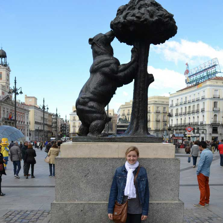 Posing in front of El Oso y El Madrono in La Puerta del Sol, Madrid.