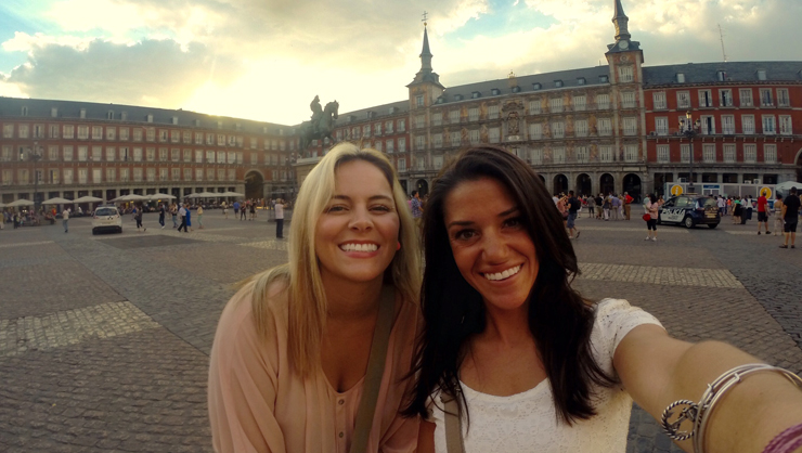 Teach English Spain participant in Madrid's Plaza Mayor.