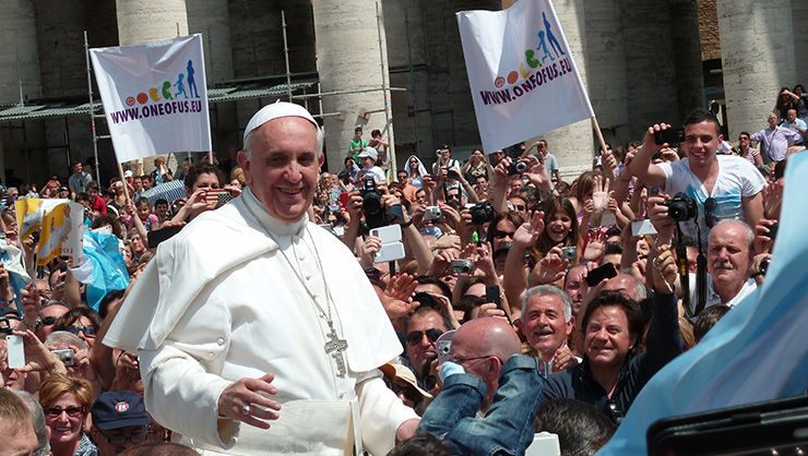 Pope Francis among the people at St. Peter's Square