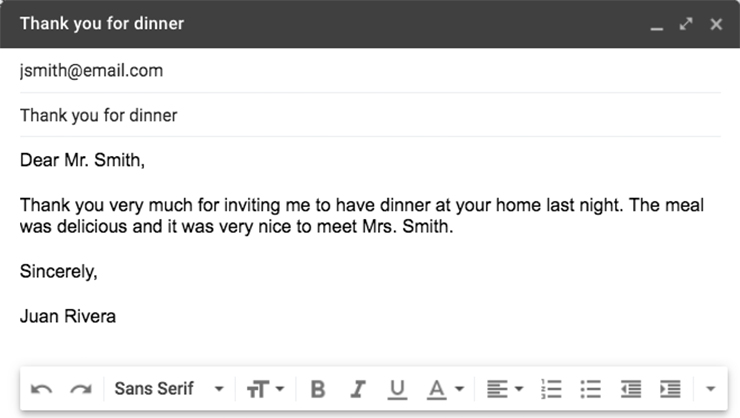 A formal email thanking Mr. Smith for dinner.