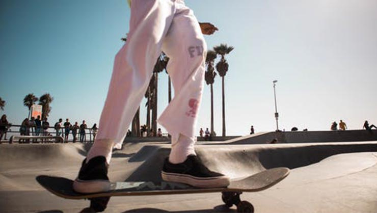 Person on skateboard in skatepark with palm trees in background