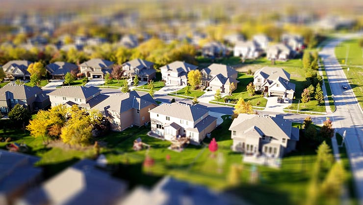 An aerial picture of a suburban American street