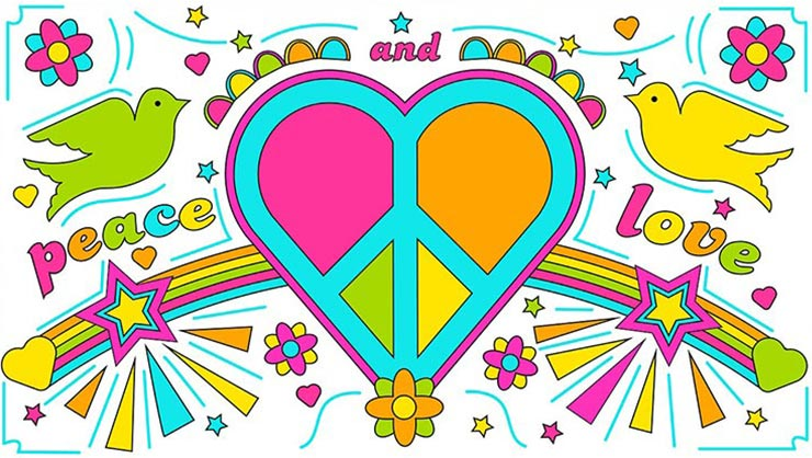 Cartoon drawings of doves, a heart, and a peace sign