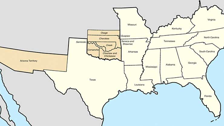 Map of United States of America showing states, territories, and allied tribes of the Confederate States of America.