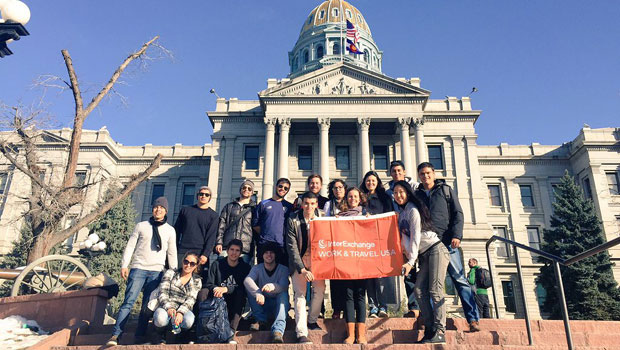 Participants in front of the Colorado State Capitol