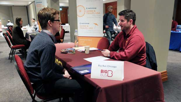 Big Bus Chicago interviewing a potential employee at last year's Dublin Job Fair.