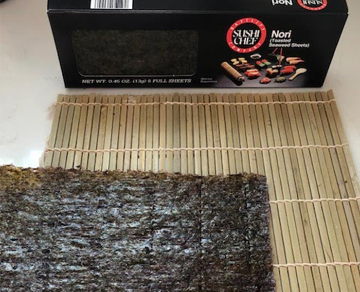 Seaweed wrap on a bamboo mat