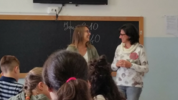 Participant Ashley co-teaching in Italy.