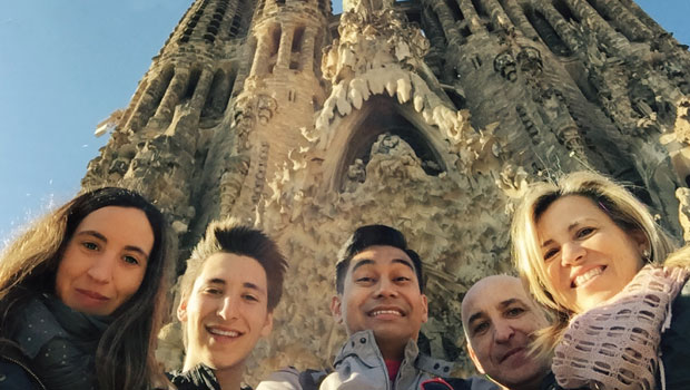 Ben and his host family in Spain.