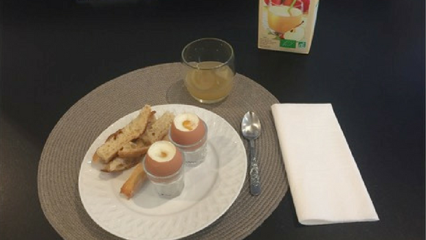 A typical breakfast in France.