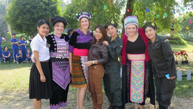 Kristen enjoys her time at a festival while teaching in Thailand.