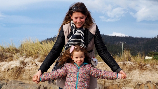 An au pair of the month with kid