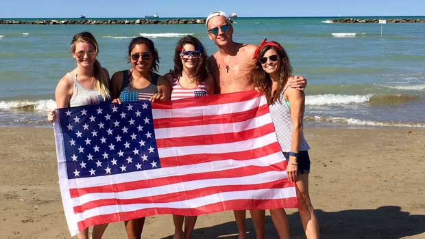 Celebrating the 4th of July on the beach in Falconara!