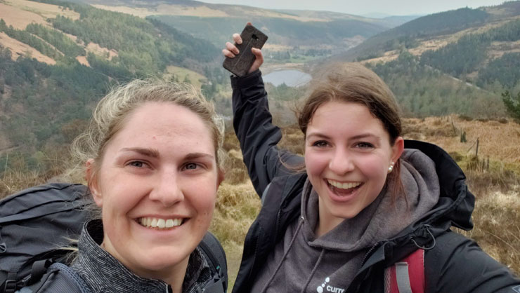 Shawnie and friend conquering the Irish hills