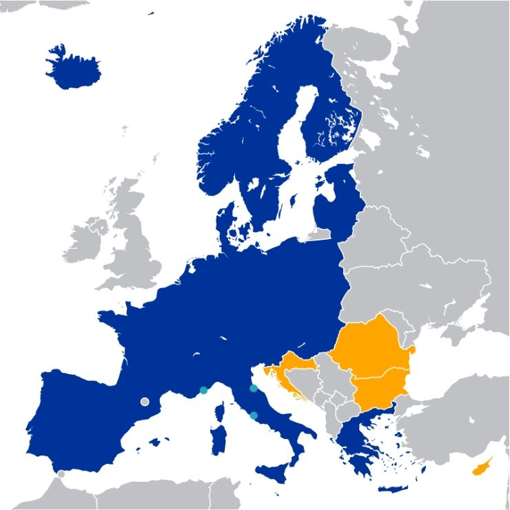 A map of the Schengen Area countries