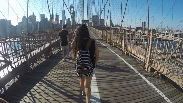 Celina visits the famous Brooklyn Bridge