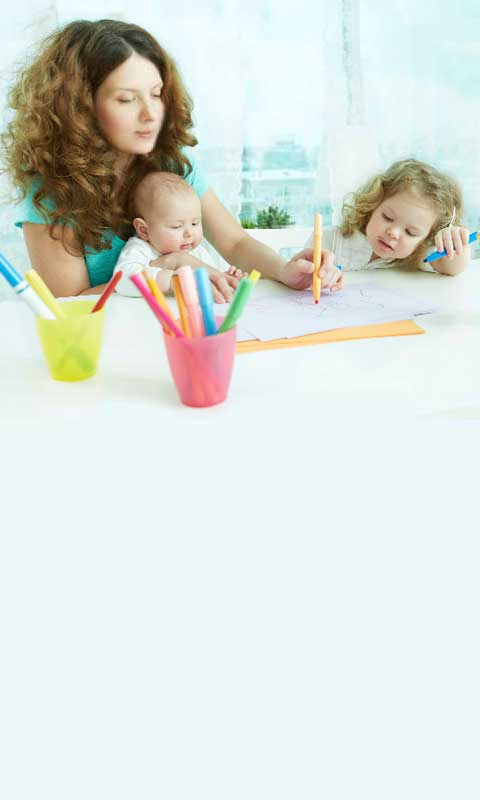 Au pair coloring with children