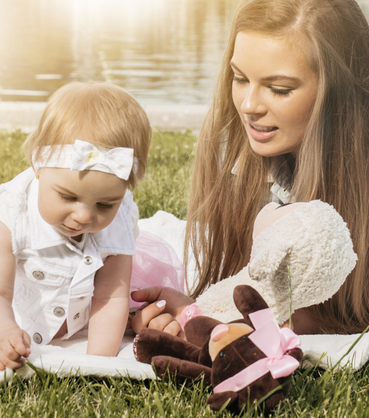 Au pair and child outside
