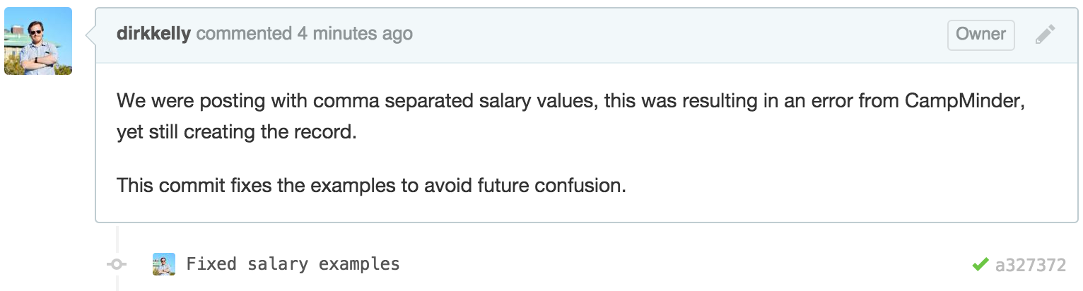 Pull Request Fixed Salary Examples