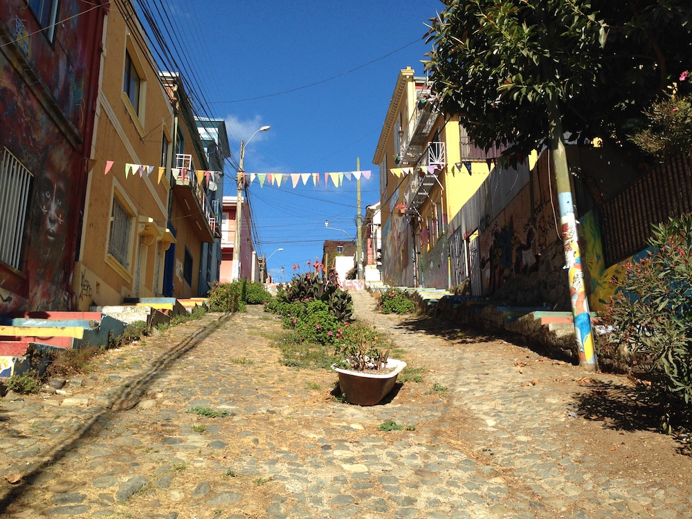 Walking up one of Valparaiso's most famous streets