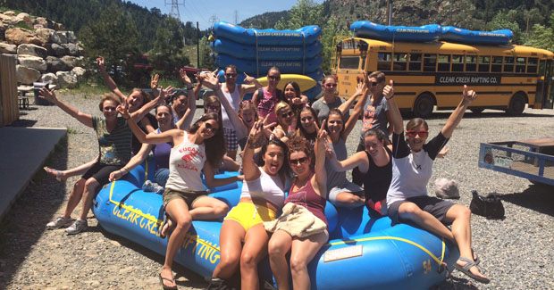 The au pairs were very excited to go rafting in Colorado!