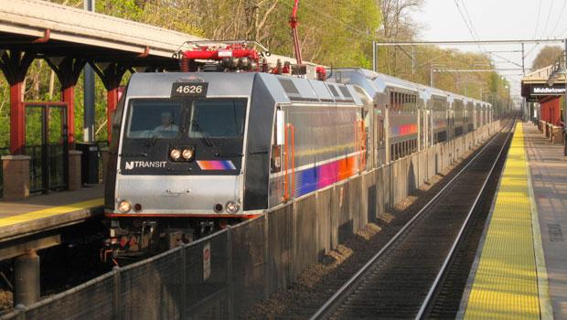 NJ Transit train in Middletown, New Jersey