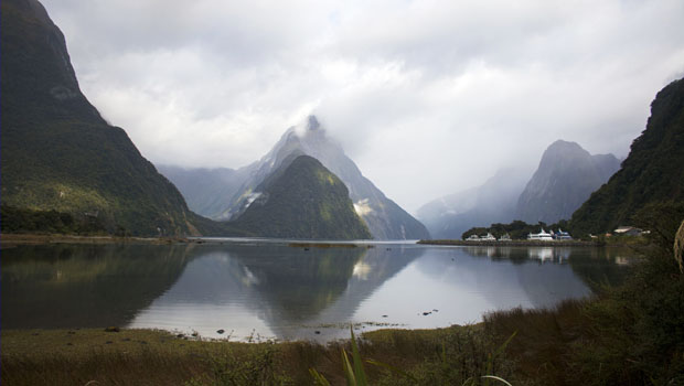 View of the Milford Sound fjord before climbing aboard the cruise ship.