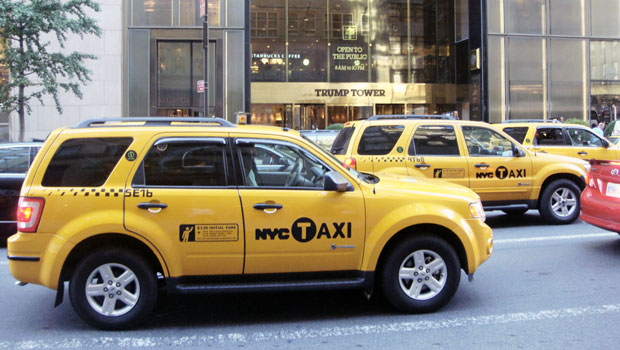Taxis on Fifth Avenue in Manhattan
