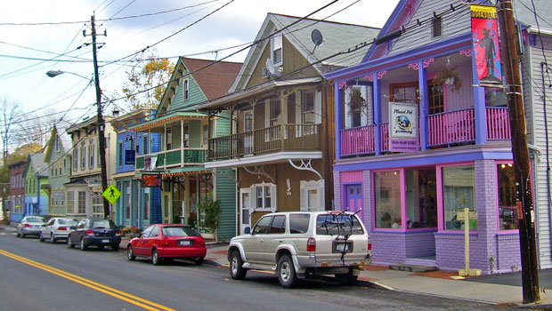 Restored historic houses and stores in downtown Rosendale, NY