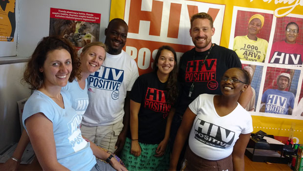 MSF staff members wear t-shirts to confront HIV/AIDS-related stigma.