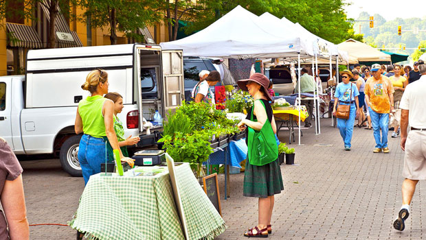 Farmers Market in downtown Lafayette, Indiana
