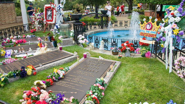 The Presley family memorial at Graceland