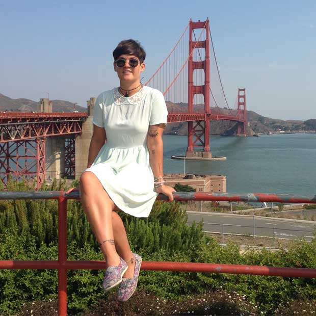 Cynthia poses by the Golden Gate