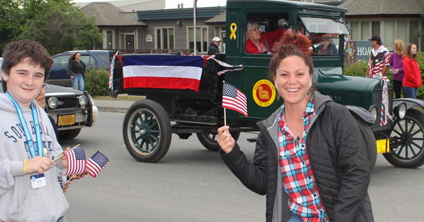 Tahia at an Independence Day parade in Alaska.