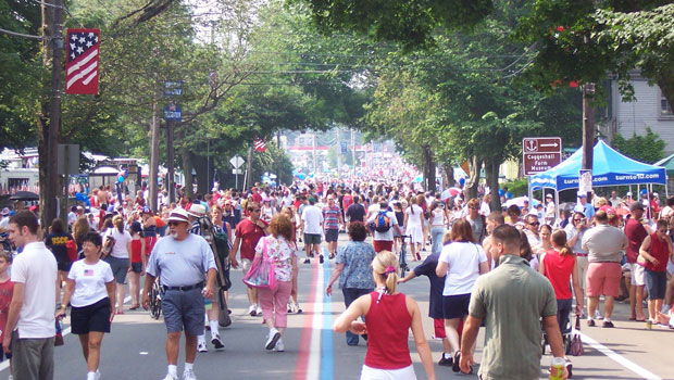 Street scene prior to the Independence Day parade in Bristol