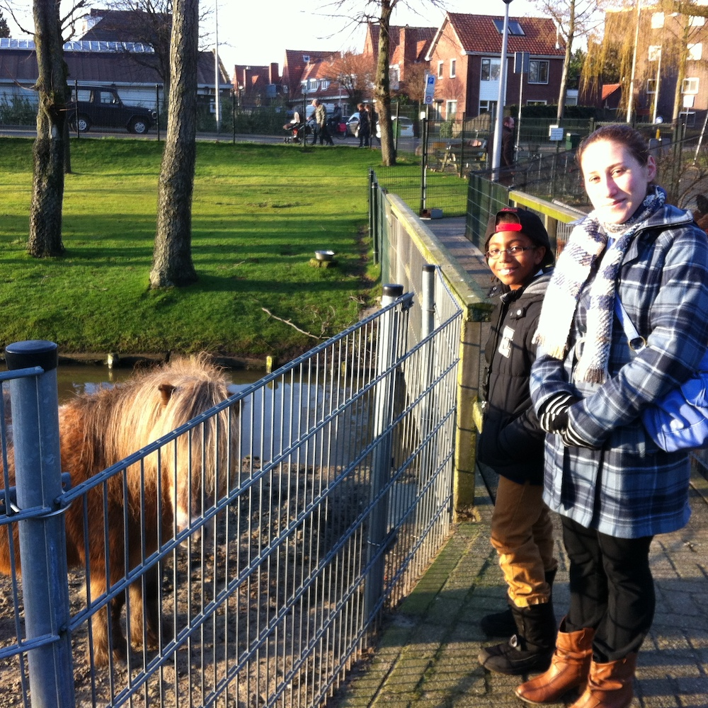 au pair with host sibling at the zoo in the Netherlands