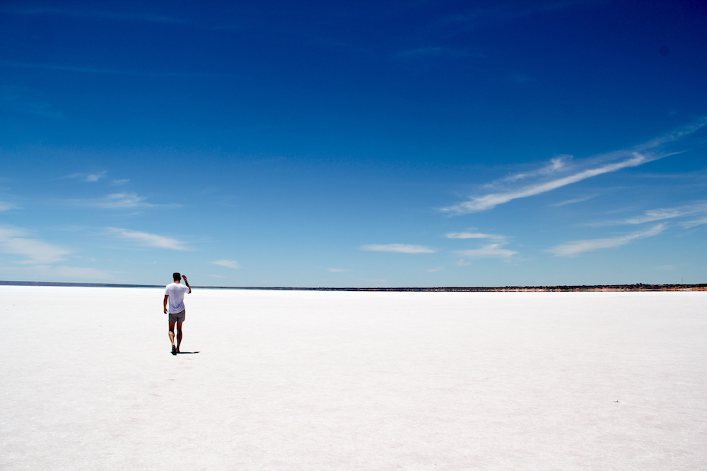 A participant explores the salt flats of Australia.