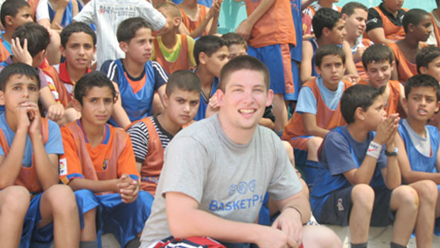 David with camp participants