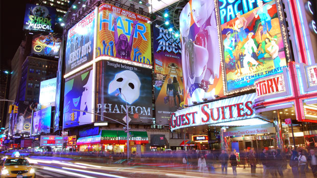 Broadway show billboards in New York City