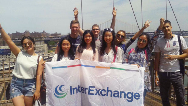 InterExchange participants prepare to walk across the Brooklyn Bridge.