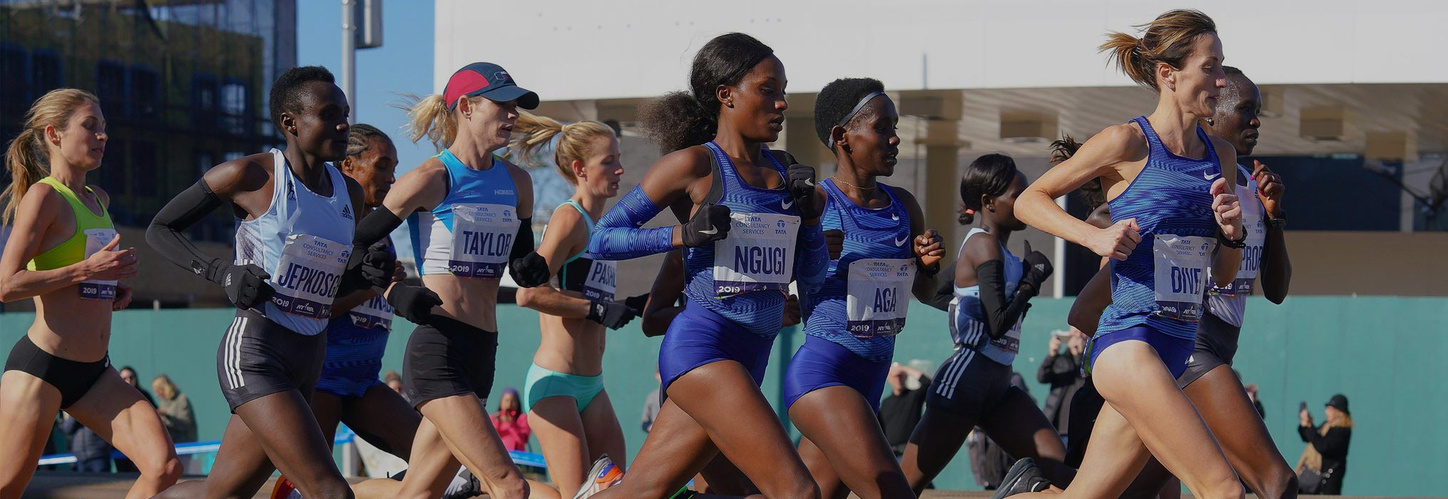 The women's elite runners leaders at the 2019 NYC Marathon