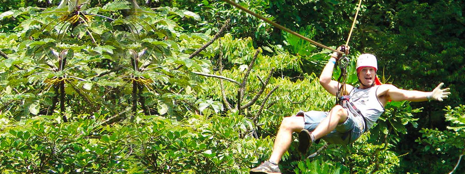 Participant Zip Lining in Costa Rica